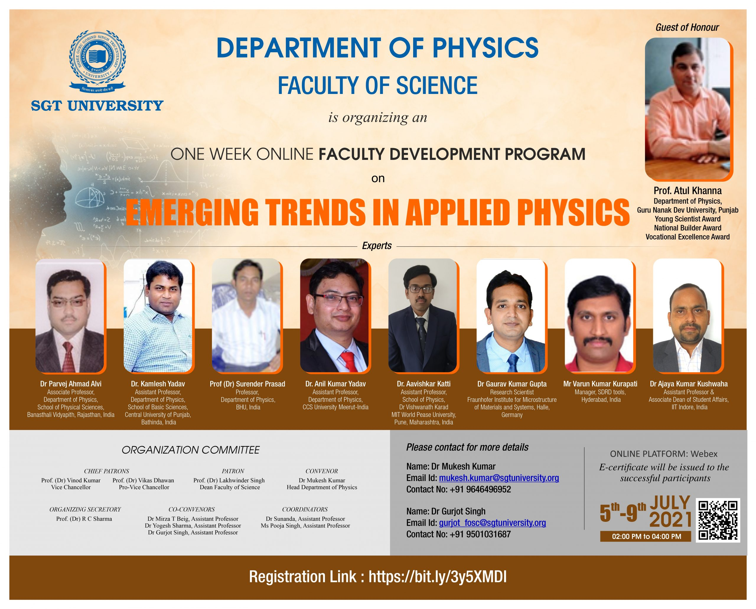 Emerging Trends in Applied Physics(5-9 July 2021) at our SGT University Gurgaon.